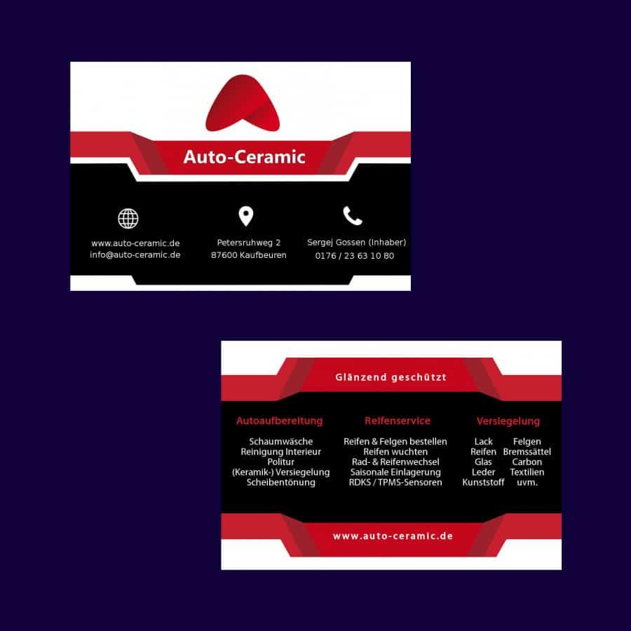 Visitenkarten Auto Ceramic Vogler Marketing Webdesign